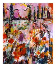Abstract Tuscan Poppy Landscape