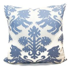 Schumacher Blue Regalia Lion Decorative Pillow Covers or or Lumbar Pillow Cover, Throw pillow cushion cover Pillow Cover Design, Decorative Pillow Covers, Down Pillows, Throw Pillows, Cow Hide Rug, Pillow Forms, Ballard Designs, Designer Pillow, Lumbar Pillow