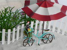 Fairy Garden accessories beach bike bicycle for terrarium - miniature garden - beach garden - cake topper by TheLittleHedgerow on Etsy https://www.etsy.com/listing/241131412/fairy-garden-accessories-beach-bike