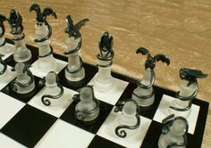 """Dragon Chess Set! This isn't exactly """"Room Decor"""", but I would be SO EXCITED if I had dragon chess pieces!"""
