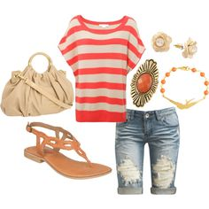coral summer outfit - Polyvore