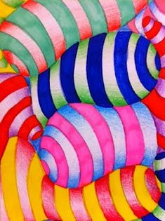 RHYTHM IN COLOR--------------Grade 5 op art. value, movement/rhythm, pattern, and (illusion of) form Rhythm Art, Art Optical, Optical Illusions, 5th Grade Art, Ecole Art, Principles Of Design, School Art Projects, Art Lessons Elementary, Middle School Art
