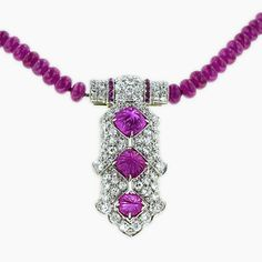 Art Deco Clip with Ruby Chain