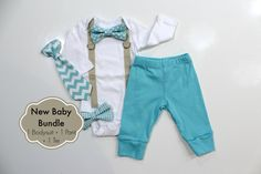 Expecting a newborn baby boy soon? Make his coming home from the hospital outfit special!  This listing includes: - 1 khaki suspender bodysuit