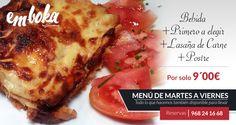 Hoy el menú diario de Emboka by Simmons te recomendamos como segundo, a elegir entre tres, lasaña de carne. ¿Te apetece? Estamos en La Flota, Murcia Telefono reservas 968241668