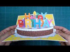 Happy Birthday Cake Pop Up Card Tutorial Part II (Candle Version) Brithday Cake, Birthday Cake Pops, Birthday Cake Card, Happy Birthday Cakes, Birthday Invitations, Happy Birthday Balloons, Edible Cake, Card Tutorials, Pop Up Cards