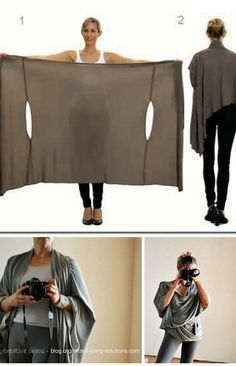 DIY Two Tutorials for the Bina Brianca Wrap. It can be worn as a scarf, cardigan, poncho, blouse, shrug, stole, turtleneck, shoulder scarf, back wrap, tunic...