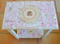 Mosaic Table with Vintage China and Stained Glass