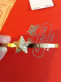 COACH Gold Pave Pyramid Star Hinge Bracelet $98  66329