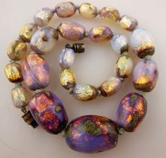 Vintage Stunning Bohemian Art Deco Opalescent Foil Glass Beads Necklace