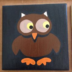 Hand Painted Owl Coaster, 4.25in. x 4.25in. on Etsy, $5.00