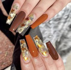 Coffin nails will make you look stylish and unique, which is the reason people love it. We have prepared 30 newest coffin nails ideas for you in this beautiful fall. We hope you can be happy with the original nails. Cute Acrylic Nail Designs, Fall Nail Designs, Summer Acrylic Nails, Best Acrylic Nails, Stylish Nails, Trendy Nails, Holloween Nails, Polygel Nails, Coffin Nails