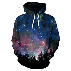 2017 Chaude forêt couleur Galaxy Star Ciel Impression Hoodies Unisexe Hip Hop Sweat Mode harajuku Casual sweat À Hoodie Sweatshirts, Pullover Hoodie, Printed Sweatshirts, Bts Hoodie, Cotton Hoodies, Sweater Hoodie, Galaxy Hoodie, Mode Harajuku, Moda Pop