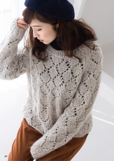 Pattern is Japanese but fully charted using standard knitting and/or crochet symbols. For help using Japanese charted patterns, please visit the Japanese knitting & crochet group. Lace Knitting, Knitting Patterns Free, Knit Crochet, Crochet Symbols, Lace Sweater, Lace Patterns, Knitwear, Sweaters For Women, Collection