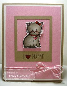 I ♥ My Cat Card by Tracy Clemente #Cardmaking, #Critters, #TEMatched, #ShareJoy, #TE