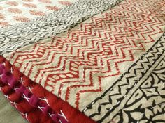 Gorgeous Chevron pattern on this earthen colour tone inspired kantha quilt. All handmade. <3 #kantha #kanthaquilt #chevronkantha