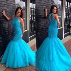 H67 beaded bodice blue tulle mermaid prom dresses,shinny sparkly prom dresses,long 2017 prom dresses