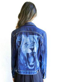 Lion Face Back Denim Jacket by rerunvintage on Etsy, $135.00