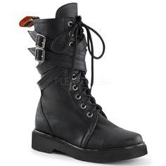 Demonia RIVAL-307 Black Vegan Leather Combat Boots