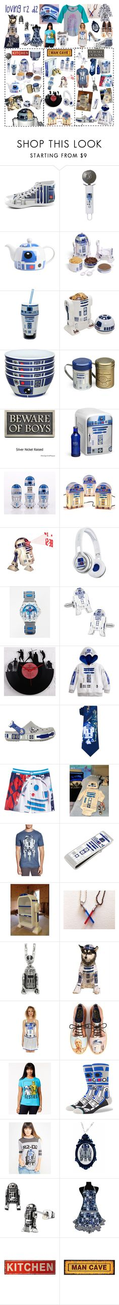 """""""r2 d2, my favorite Star Wars character!!"""" by troyer-ba ❤ liked on Polyvore featuring R2, ThinkGeek, Zak! Designs, SMS Audio, ASOS, Cufflinks, Inc., Crocs, Bioworld, Junk Food Clothing and Han Cholo"""