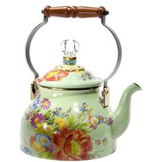 MacKenzie-Childs Flower Market Enamel Tea Kettle - Green - Small ($105) ❤ liked on Polyvore featuring home, kitchen & dining, cookware, filler, food and drink, kitchen and green
