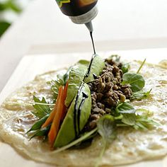 Madonna's Favorite Burrito:  Here's a vegan recipe that packs delicious fresh veggies and lentils into a tasty burrito. You'll get fiber, protein, and a little bit of heart-healthy fat from the avocado. Burritos, C'est Bon, Vegan Vegetarian, Vegetarian Burrito, Veggie Burrito, Fresh Burrito, Sauerkraut, Whole Food Recipes, Mexican Food Recipes
