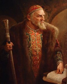 Painting by Andrei Shishkin of Tsar Ivan IV The Terrible Vasilyevich Rurik Aug Mar 1584 age Russia. Fantasy Wizard, Fantasy Rpg, Medieval Fantasy, Russian Folk, Russian Art, Character Portraits, Character Art, Landsknecht, Artwork Online