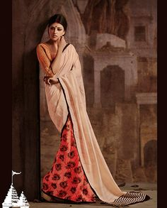 Peach and off white printed sari   1. Peach and off white bhagalpuri silk sari 2. Off white pallu with black border 3. Peach pleats with black printed design 4. Comes with matching unstitched blouse material