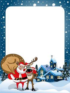 Christmas frame and santa claus vector material