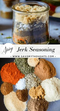 Jamaican Jerk Seasoning Spicy Jamaican Jerk Seasoning that complements chicken, fish, and any kind of red meat extremely well. Jamaican Cuisine, Jamaican Dishes, Jamaican Recipes, Homemade Spices, Homemade Seasonings, Jamaican Jerk Seasoning, Authentic Jerk Seasoning Recipe, Jamaican Jerk Rub Recipe, Fish Seasoning Recipe