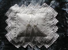 HARDANGER WEDDING RING Pillow - Ring Bearer Pillow - One of a Kind - Hand Embroidered Original Design. $75.00, via Etsy.