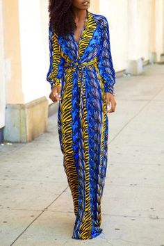 Stylish Plunging Neck Long Sleeve Printed Women's Maxi Dress