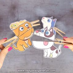 Dogs Clothespin Puppets We hope you have a few spare clothespins at hand as any dog lover (and which kid isn't?) will want a set of these dogs clothespin puppets. Halloween Crafts For Kids, Fall Crafts, Diy Crafts For Kids, Arts And Crafts, Paper Crafts, Craft Activities For Kids, Preschool Crafts, Toddler Activities, Puppets For Kids
