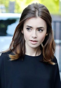 Lily Collins's Cool Chocolate Brown Half-Up Half-Down Hairstyle