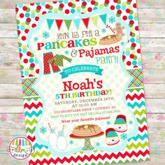 This listing is for the DIGITAL, PRINTABLE files for the invitation only. The file can then be printed from home, printed at a local or online Christmas Pajama Party, Christmas Birthday Party, Christmas Pajamas, Kids Christmas, Birthday Ideas, Pajama Birthday Parties, Pj Party, Third Birthday, Navidad