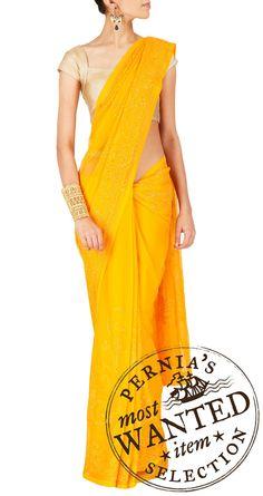 Yellow Saree+ gold blouse = superrrr