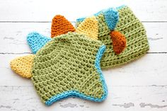 Crochet Newborn baby boy  Colorful DINO Hat and by Stephyscrochet, $35.00