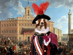 Irish Red and White Setter Art CANVAS Print Fine by NobilityDogs