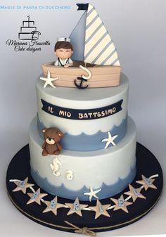 Sailorbaby cake by Mariana Frascella Nautical Birthday Cakes, Baby Boy Birthday Cake, Nautical Cake, Baby Birthday Cakes, Sailor Cake, Baby Boy Cookies, Boat Cake, Bolo Minnie, Beach Cakes