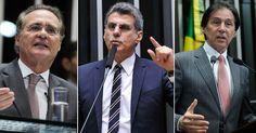 Montagem com os senadores Renan Calheiros, Romero Jucá e Eunício Oliveira (Foto: Agência Senado)