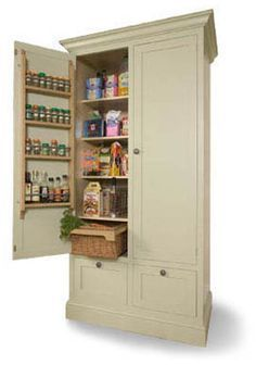 Larder - Handmade and hand-painted by dedicated craftsmen, with integral oak spice racks and oak framed locally hand-woven willow baskets, this is th. Kitchen Pantry Cupboard, Kitchen Pantry Design, Kitchen Doors, Kitchen Redo, Kitchen Flooring, Kitchen Storage, Kitchen Hutch, Larder Storage, Linen Cupboard