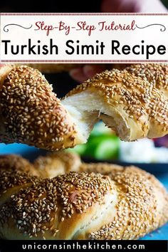 Simit is a sesame crusted Turkish bread that's you can find in every corner of Istanbul. You can use simit to make delicious breakfast sandwiches. Learn how to make traditional simit recipe at home with this step-by-step tutorial. Turkish Food Traditional, Traditional Bread Recipe, Turkish Simit Recipe, Turkish Recipes, Delicious Breakfast Recipes, Healthy Recipes, Fun Recipes, Yummy Food, Israeli Food