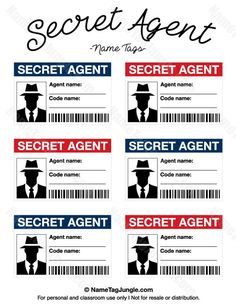 Free printable secret agent name tags. These would. - Free printable secret agent name tags. These would.