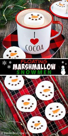 Floating Marshmallow Snowmen - use melted chocolate to make these simple and easy marshmallow snowmen to float in your winter drinks. Easy edible craft to make and give away with hot chocolate mix. Christmas Dinner Menu, Christmas Goodies, Christmas Desserts, Christmas Baking, Christmas Treats, All Things Christmas, Christmas Fun, Holiday Fun, Christmas Recipes