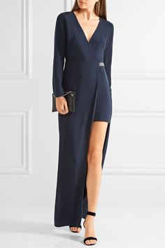 Halston Heritage | Asymmetric embellished crepe gown | NET-A-PORTER.COM