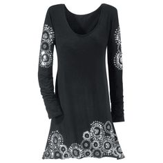 """Silver Beaded Dress  Swirls of silvery beads and sequins adorn this dress sensation: a clingy, jersey-knit design with hundreds of """"flash points"""" down both arms and on the front hem. Scoop neck; long sleeves."""
