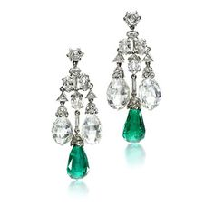 A Pair of Art Deco Emerald and Diamond Ear Pendants, circa 1928. Via FD Gallery, www.fd-inspired.com