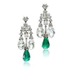 Cartier - A Pair of Art Deco Emerald and Diamond Ear Pendants, circa 1928. Via FD Gallery