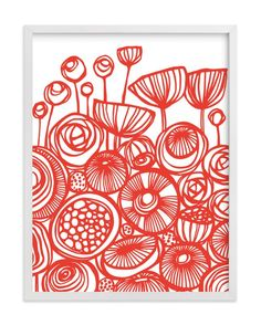 """Pop Art Flowers"" - Art Print by Gill Eggleston in beautiful frame options and a variety of sizes."