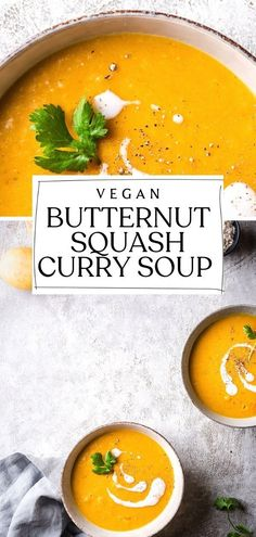 Jan 30, 2021 - This hearty and nourishing Butternut Squash Curry Soup is the perfect way to stay warm and cozy. Vegan and gluten-free. Kitchen Recipes, Soup Recipes, Dinner Recipes, Vegan Soups, Healthy Soups, Pumpkin Stew, Butternut Squash Curry, Coconut Milk Soup, Easy Vegan Dinner